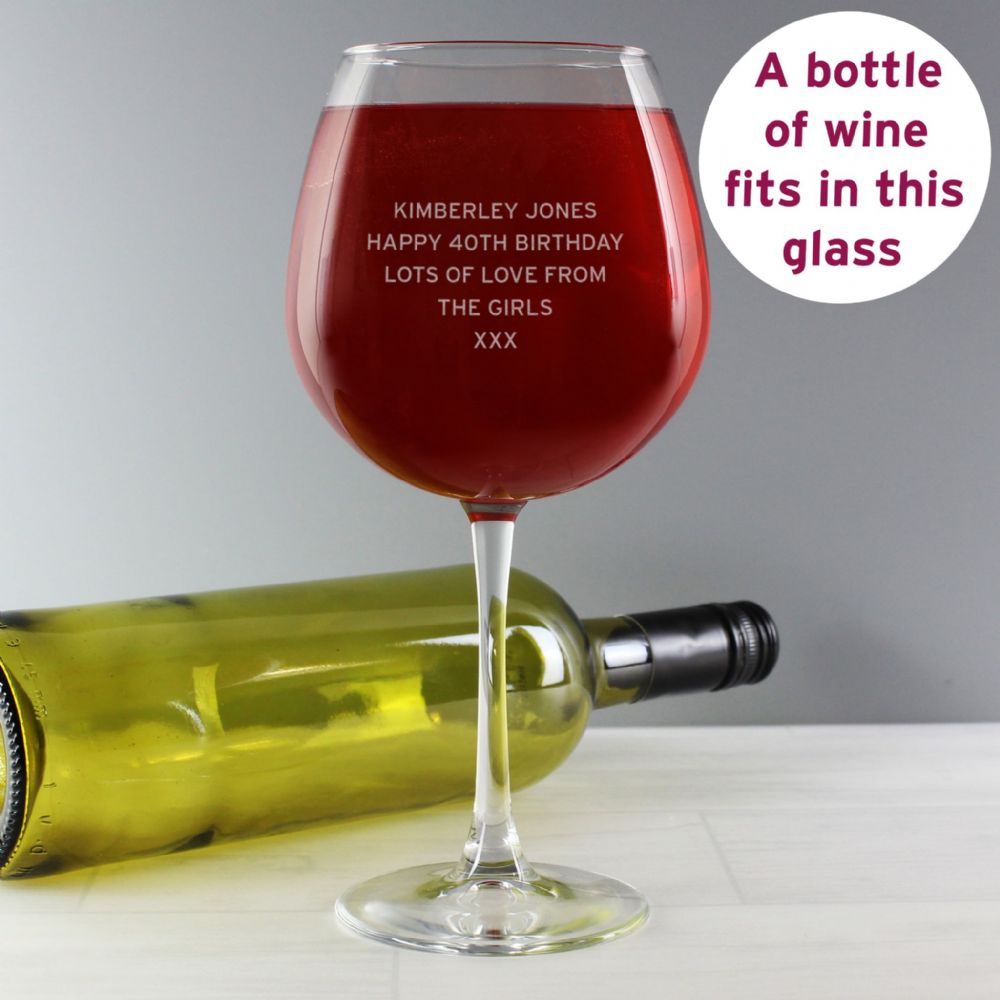 Personalised Bold Statement Bottle of Wine Glass - Ideal for Birthday, Mother's Day, Hen Party, House Warming